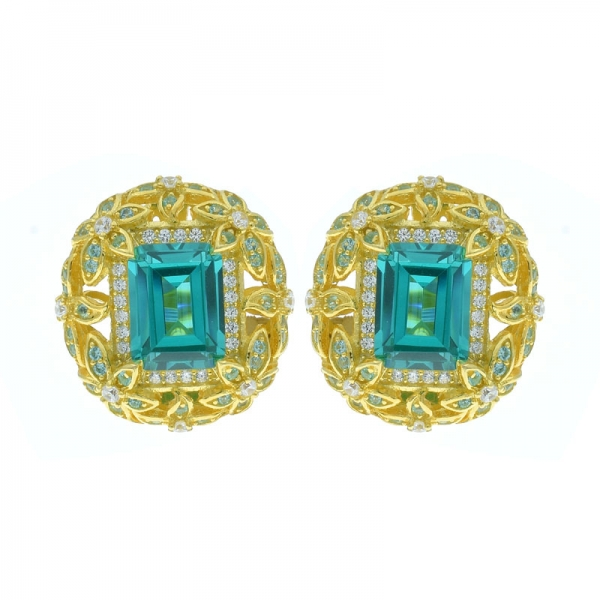 925 Silver Round Shape Omega Earrings With Fancy Paraiba