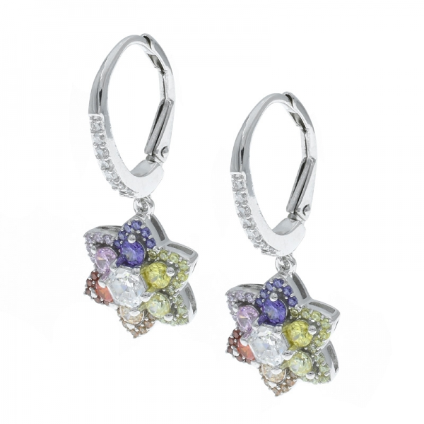 925 Silver Sophisticated Multicolor Floral Ladies Earrings