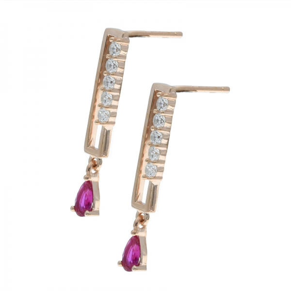 925 Sterling Silver Refined Elegant Rose Gold Plated Earrings