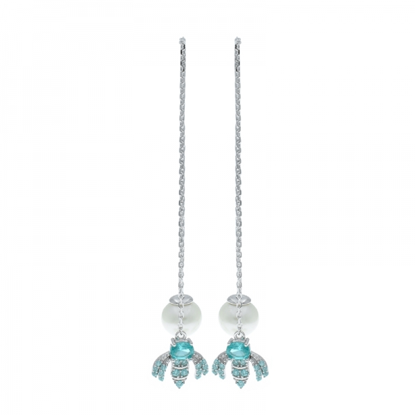 925 Silver Winsome Bee Dangling Earrings