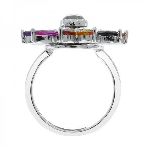 925 Fancy Multicolor Sunflower Silver Ring
