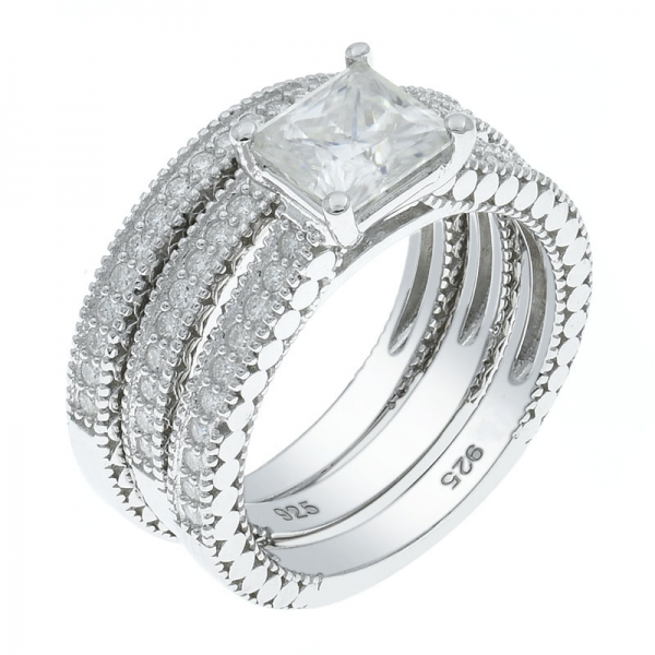 925 Silver Detachable White CZ Ring