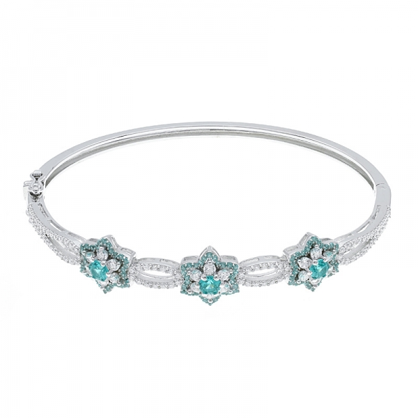 925 Sterling Silver Multicolor Flower Bangle