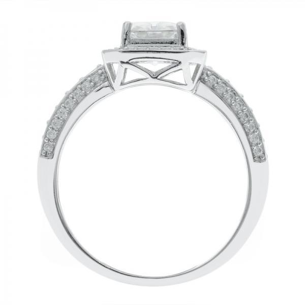 925 Sterling Silver Stylish Baguette Halo Ring