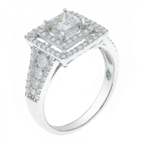925 Sterling Silver Stylish Double Square Ring