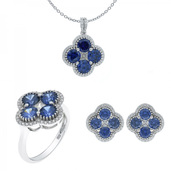 925 Sterling Silver Tanzanite CZ Four Leaf Clover Jewelry Set