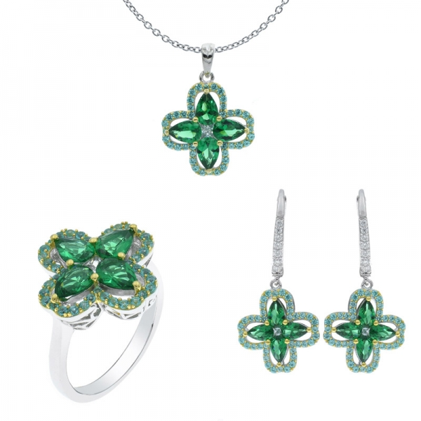 925 Sterling Silver Lavish Four Leaf Clover Jewelry Set