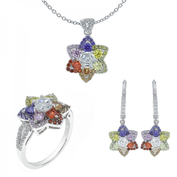925 Sterling Silver Multicolor Flower Shape Jewelry Set