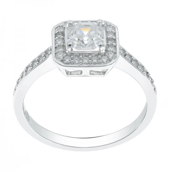 925 Sterling Silver Halo Square CZ Ring