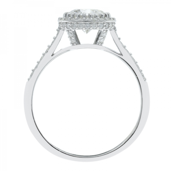 Fashionable 925 Silver Solitaire Halo Ladies Ring