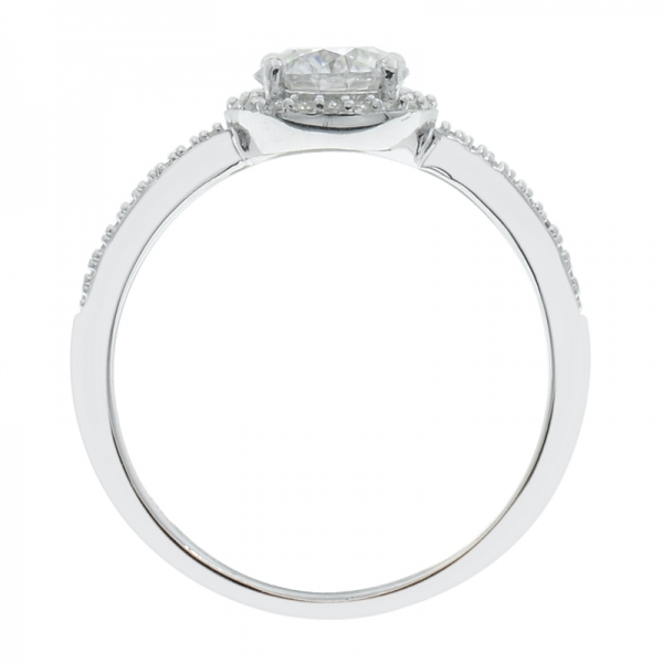 925 Sterling Silver Solitaire Halo Round Shape Ring