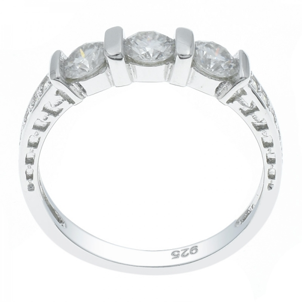 Winsome Silver Ladies Three Stone White CZ Ring
