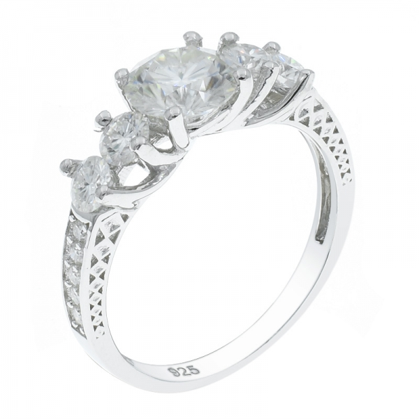 925 Sterling Silver Graceful Five Stone Ring