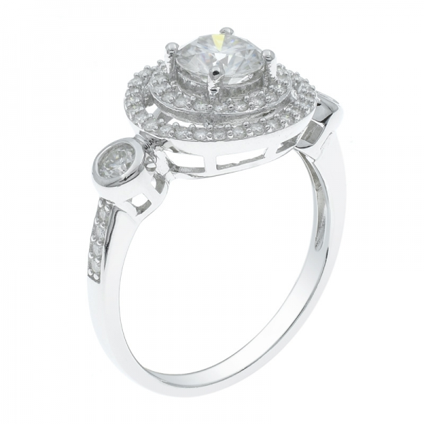 925 Silver Three Stone Double Halo Ring