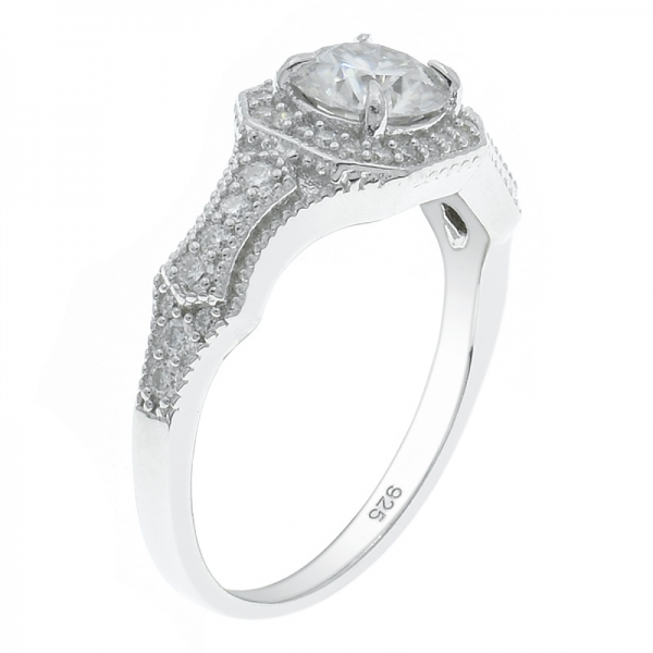 925 Sterling Silver Dazzling Halo White CZ Ring
