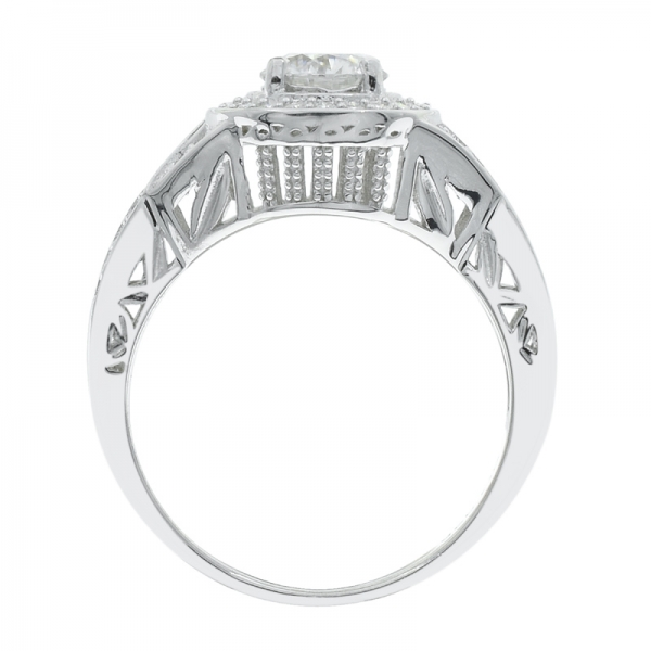 925 Silver White CZ Ring With Criss Cross band