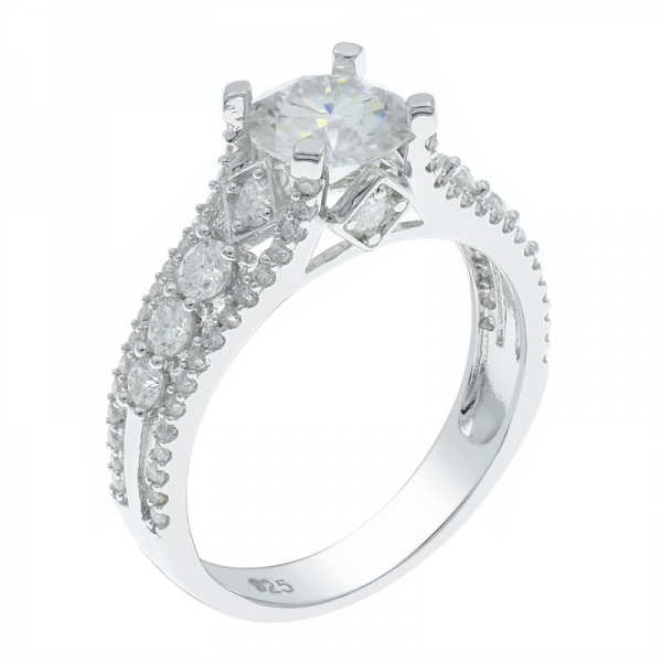 Fascinating 925 Silver Rhodium Plated White CZ Ring