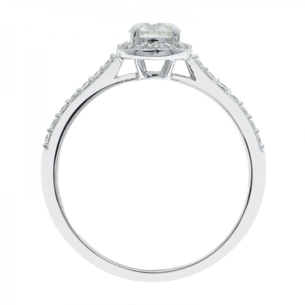 925 Sterling Silver Simple Halo Ladies Ring