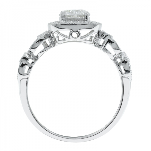 925 Sterling Silver Halo Ring With Twist Band