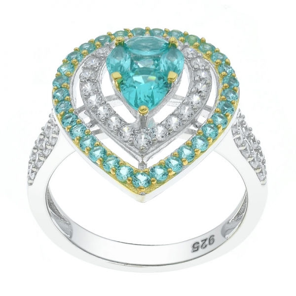925 Sterling Silver Double Pear Shape Paraiba Ring