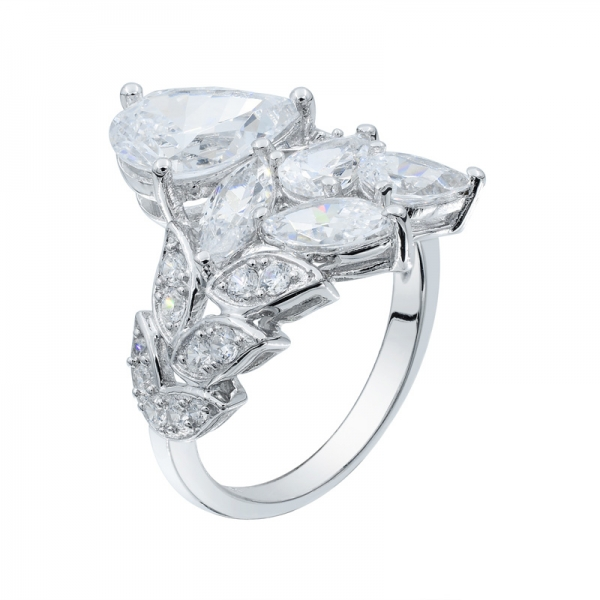 925 Silver White CZ Subtle Elegance Leaf Shape Ring