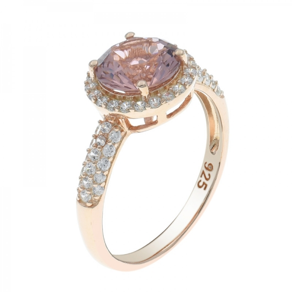 925 Sterling Silver Halo Morganite Nano Ring
