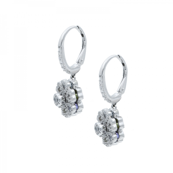 925 Sterling Silver Floral Spinning Earrings