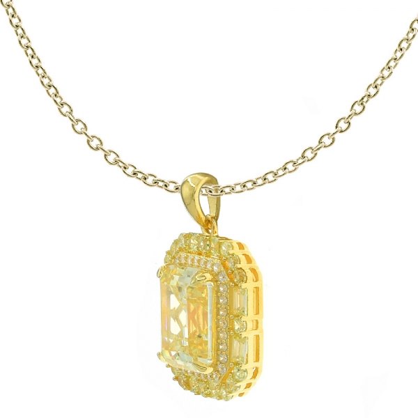 Wholesale 925 Sterling Silver Diamond Yellow CZ Pendant