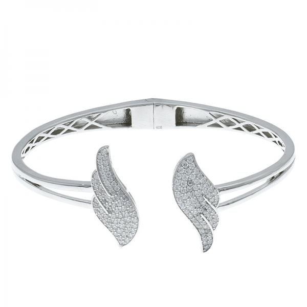 China 925 Sterling Silver Double Wing Open Bangle