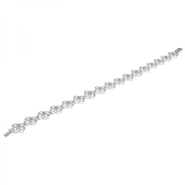 China 925 Sterling Silver White CZ Clover Bracelet