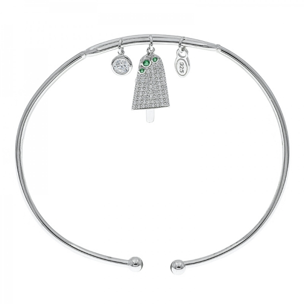 925 Sterling Silver Slender Ice Lolly Charm Bangle