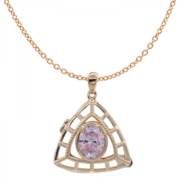 China 925 Sterling Silver Double Triangle Diamond Pink CZ Locket Pendant