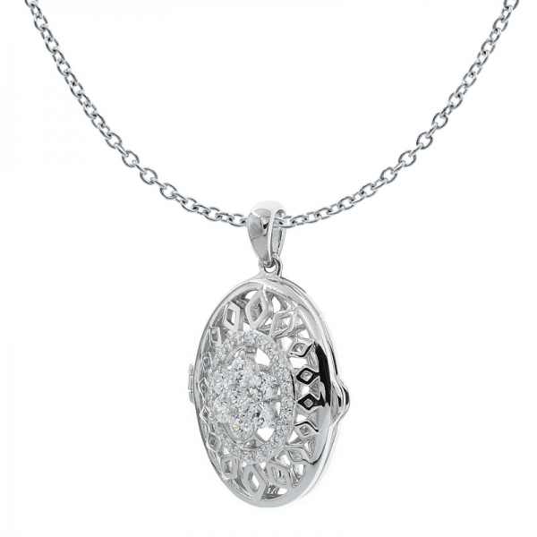 China 925 Sterling Silver Filigree Halo Flower Locket Pendant