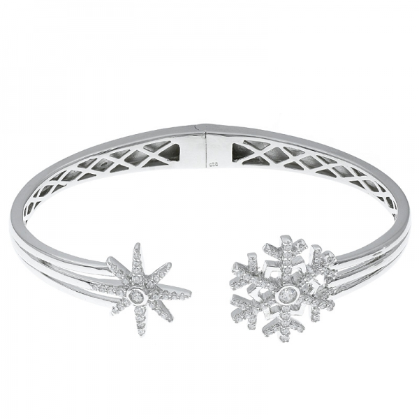 China 925 Sterling Silver Snowflake Open Bangle