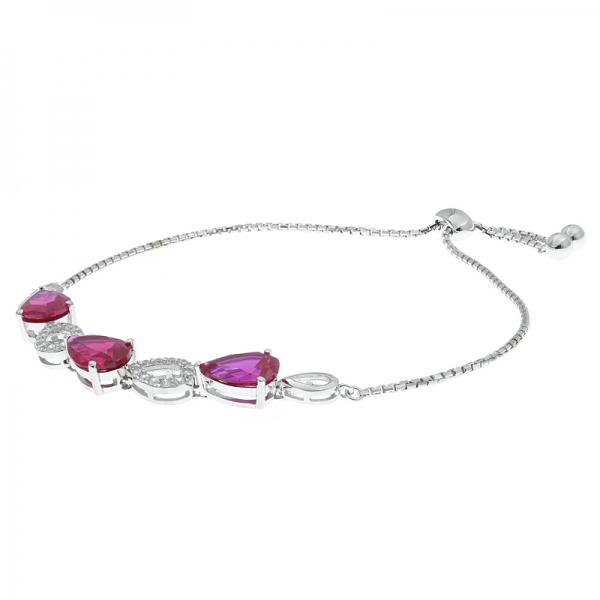 China Silver Winsome Pear Shape Bolo Jewelry Bracelet With Red Corundum