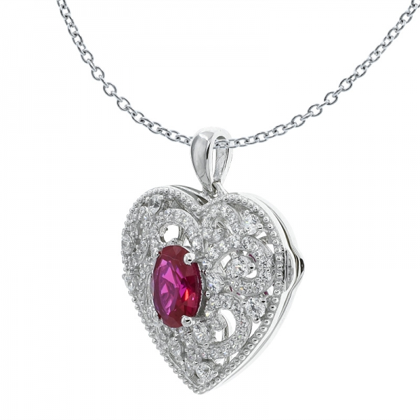 China 925 Sterling Silver Handmade Heart Shape Filigree Locket Pendant