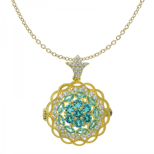 925 Sterling Silver Paraiba Flower Filigree Locket Jewelry Pendant