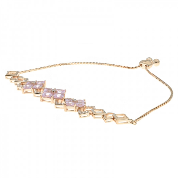 China 925 Sterling Silver Square Bolo Jewelry Bracelet With Pink CZ