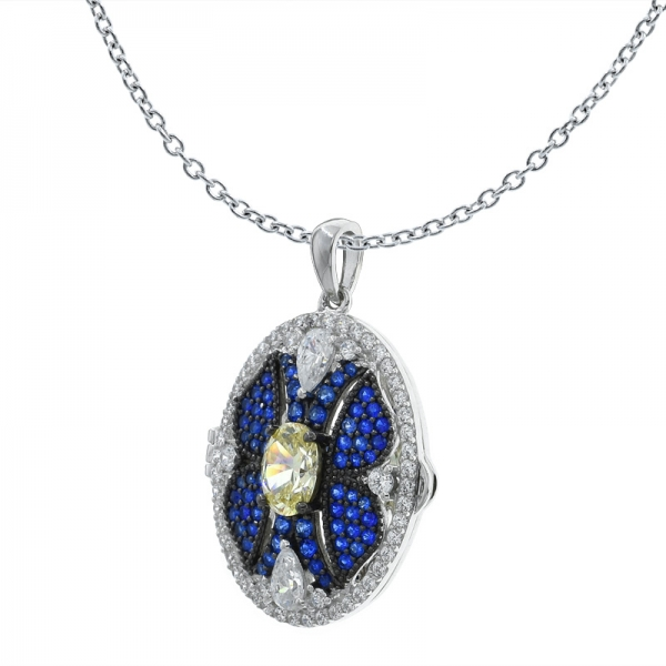 China 925 Sterling Silver Handmade Oval Shape Locket Pendant