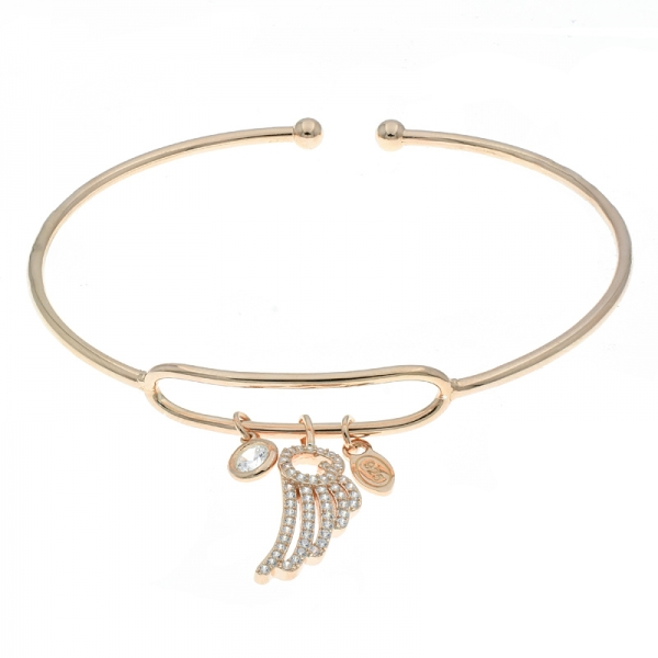 China 925 Sterling Silver Slender Wing Charm Bangle