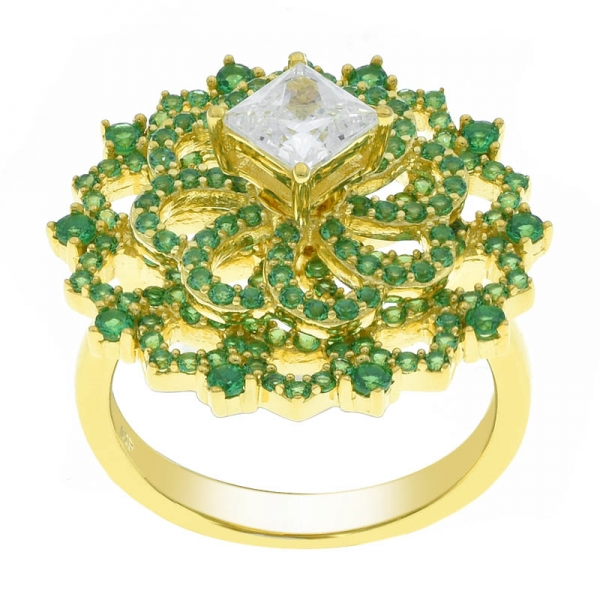 China 925 Silver Spinning Ring With Green Nano & White CZ