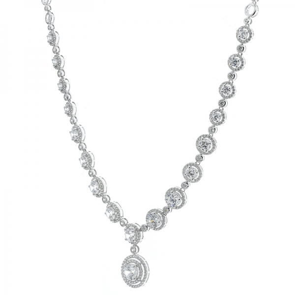 China 925 Sterling Silver Double Halo White CZ Necklace