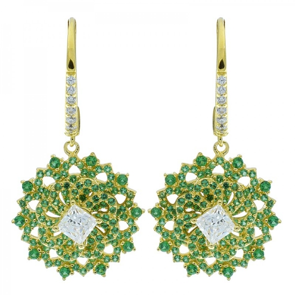China 925 Sterling Silver Spinning Earrings With Green Nano