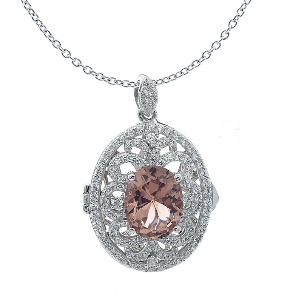 Diamond Pink CZ 925 Sterling Silver Locket Jewelry Pendant