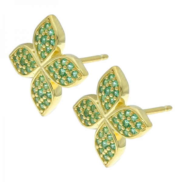 925 Sterling Silver Four Clover Jewelry Earrings With Green Nano