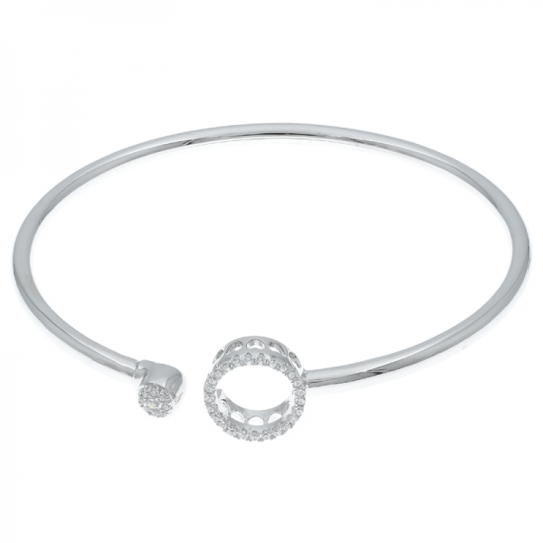 Slender Hign Polish Rhodium Plated Silver Ladies Bangle