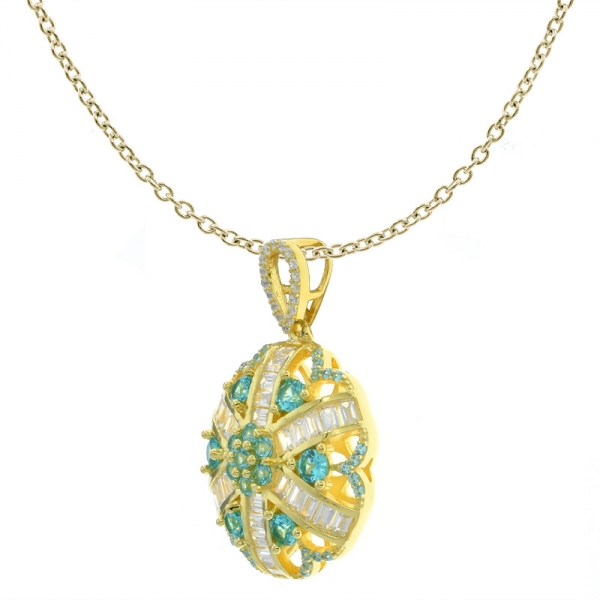 925 Nice Handcrafted Flower Pendant With Paraiba Color Stones