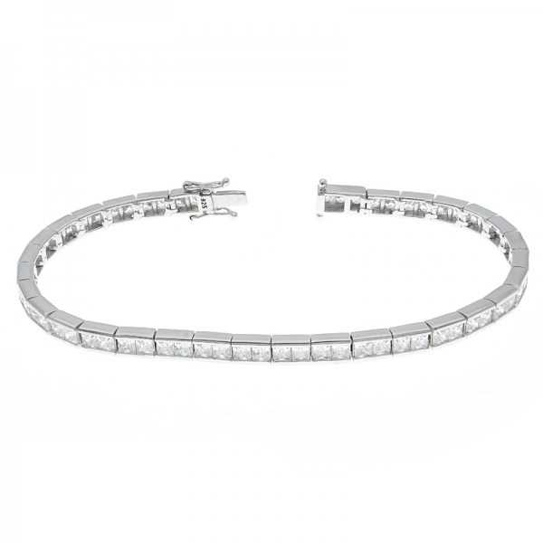 Fancy 925 Sterling Silver Tennis Bracelet With Clear Stones