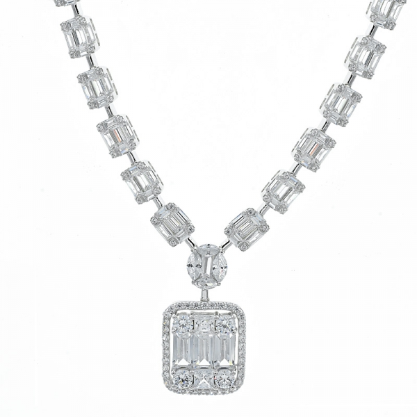 925 Sterling Silver Baguette Cluster Link Necklace For Ladies