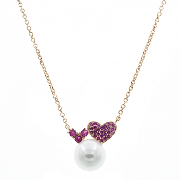 925 Sterling Silver Heart Necklace With fresh Pearl & Red Corundum